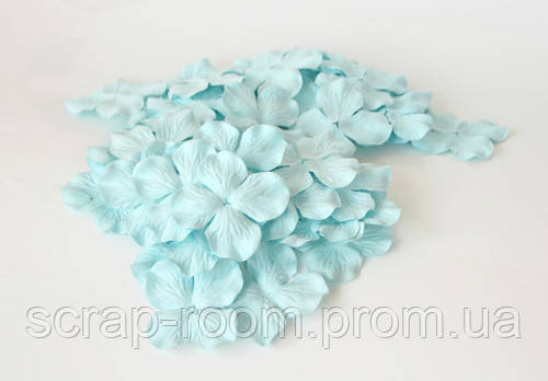 Гортензии большие мятные, гортензии голубые 5 см, бумажная  гортензия голубая 5 см, цветы бумажные гортензия