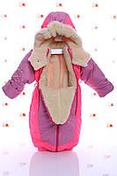 Зимний комбинезон трансформер сливовый с ярко розовым, фото 1