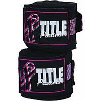 Бинты боксерские эластичные  TITLE Boxing Platinum Breast Cancer 4,2 м Черные с розовым