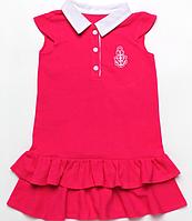 Детское летние платье-поло для девочки из лакосты с волнами малинового цвета 4-7 лет