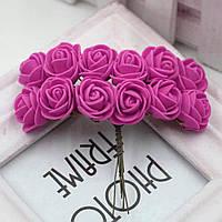 Розочки из фоамирана, диаметр 2-2,5см (цена за букет, 12 розочек) цвет- Малиновый