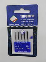 Иглы для бытовых швейных машин 130/705H Джинс №100 TRIUMPH (уп.5шт)