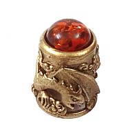 Сувенирный наперсток из бронзы и янтаря Дракон