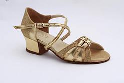 Туфли для девочки танцевальные с регулятором полноты из сатина, кожи