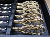"""Подарочный набор шампуров ручной работы """"Волчья стая """" в кейсе из эко-кожи"""