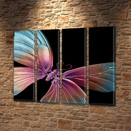 Космическая бабочка, модульная картина (мотыльки), на Холсте син., 65x80 см, (65x18-4)
