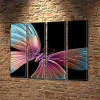 Космическая бабочка, модульная картина (мотыльки), на Холсте син., 65x80 см, (65x18-4), фото 1