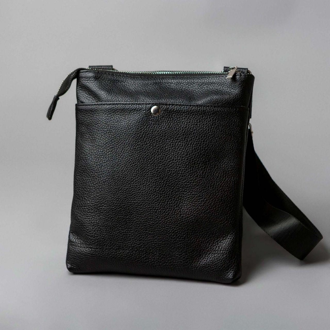 Кожаная мужская сумка через плечо (черная)