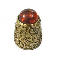 Наперсток сувенирный декоративный из бронзы и янтаря Парусник