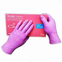 Нитриловые перчатки розовые неопудренные NITRYLEX, 50 пар в упаковке, размер — M