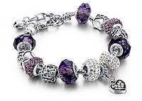 Браслет в стиле Pandora Пандора Сердце (реплика) - фиолетовый, копия Пандоры, Браслети, Браслеты