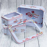 Набор прямоугольных коробок с прозрачной крышкой из 3-х шт белого цвета с конфетами и цветами, фото 2