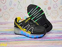 Детские светящиеся кроссовки с роликом Led подсветка черные