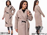 Стильное кашемировое пальто на подкладе с принтом  с 50 по 56 размер, фото 1