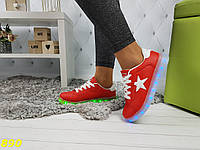 Кеды кроссовки красные со звездой светящаяся подошва Led подсветка, фото 1