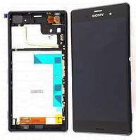 Дисплей (экран) для Sony D6603 Xperia Z3 Сони , D6643 + тачскрин, с передней панелью, черный