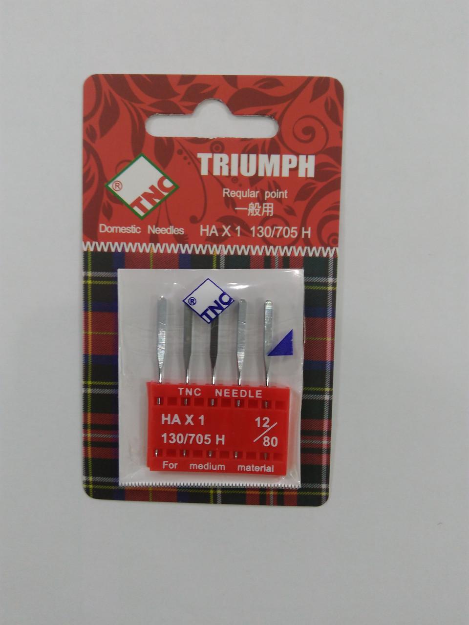 Иглы для бытовых швейных машин 130/705H универсальные №80 TRIUMPH  (уп.5шт)