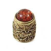 Наперсток сувенирный из бронзы и янтаря Паук