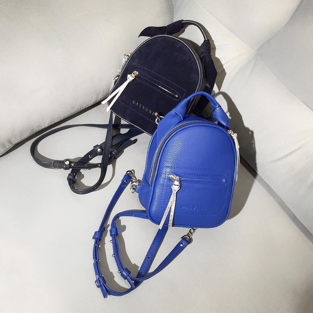 Женский кожаный рюкзак синий