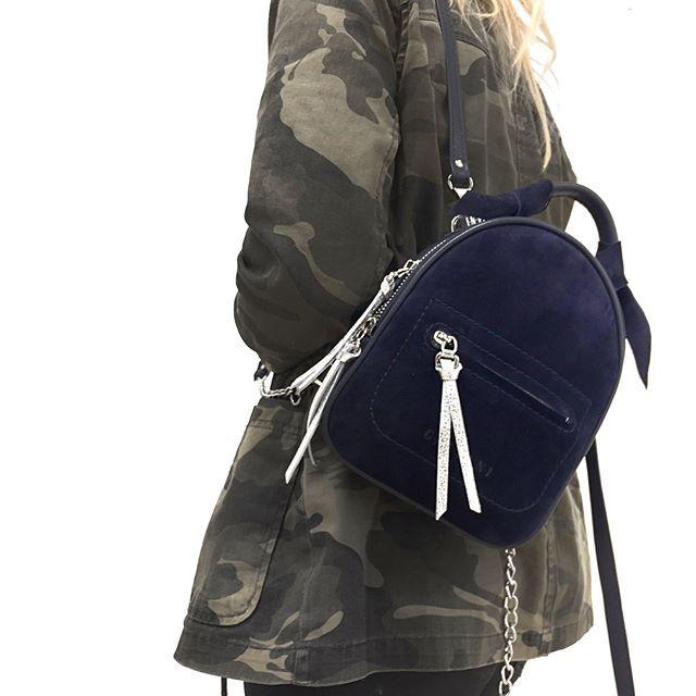 Женский замшевый рюкзак синий