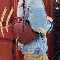 Женский кожаный рюкзак бургунди