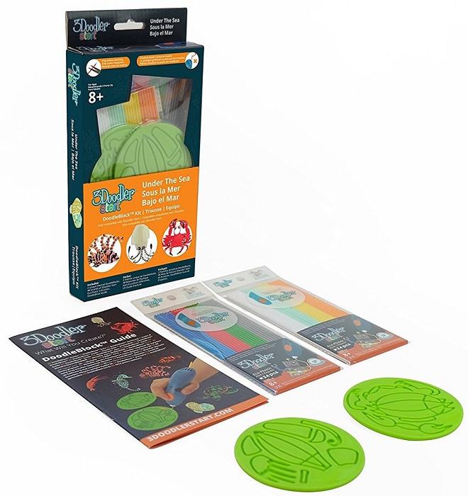 Набор аксессуаров для 3D-ручки 3Doodler Start Водный мир 48 стержней 2 шаблона (3DS-DBK-SE-COM)
