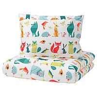 IKEA LATTJO Комплект детского постельного белья, животное, разноцветный  (203.510.06)