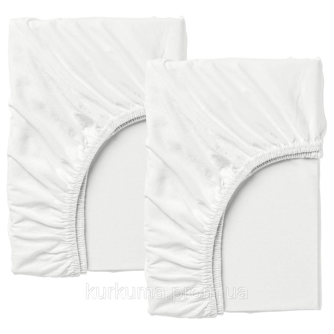 IKEA LEN Простынь с резинкой для 2 шт., белый  (802.019.57)