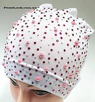 Детская трикотажная шапка на девочку (4-9 лет)