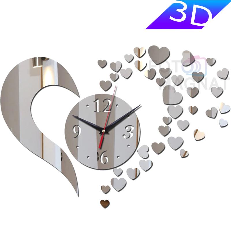 """Настінні 3D годинник з дзеркальним ефектом, романтичний дизайн """"Love"""""""