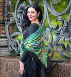 Сказка 390-19, павлопосадский платок (шаль) из уплотненной шерсти с шелковой вязаной бахромой, фото 3