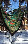 Сказка 390-19, павлопосадский платок (шаль) из уплотненной шерсти с шелковой вязаной бахромой, фото 4