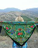 Сказка 390-19, павлопосадский платок (шаль) из уплотненной шерсти с шелковой вязаной бахромой, фото 6