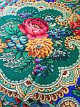 Сказка 390-19, павлопосадский платок (шаль) из уплотненной шерсти с шелковой вязаной бахромой, фото 7