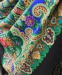 Сказка 390-19, павлопосадский платок (шаль) из уплотненной шерсти с шелковой вязаной бахромой, фото 8