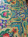 Сказка 390-19, павлопосадский платок (шаль) из уплотненной шерсти с шелковой вязаной бахромой, фото 10