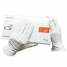 Перчатки одноразолвые Santex медицинские латексные опудренные   100 шт  размер   L белые