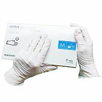 Перчатки латескные  Santex медицинские нестерильные  опудренные 100 шт  размер   M белые