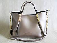 Женская стильная сумка реплика Майкл Корс бронза с косметичкой, фото 1