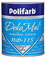 Эмаль Polifarb алкидная DekoMal ПФ-115 красный глянец 0.9кг