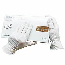 Перчатки одноразовые Santex  нестерильные опудренные  100 шт  размер   XL белые