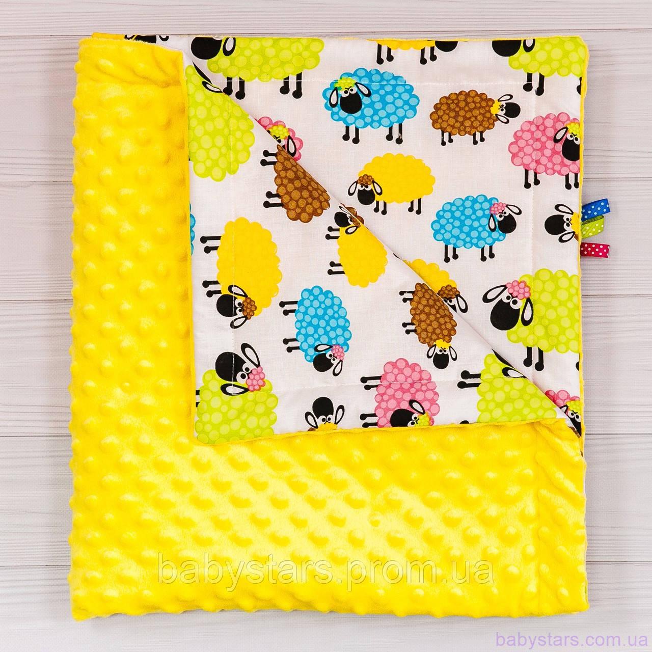 """Плюшевые пледы для новорожденных летние """"Разноцветные барашки"""" 78х85см"""