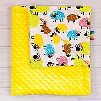 """Плюшевые пледы для новорожденных летние """"Разноцветные барашки"""" 78х85см, фото 1"""
