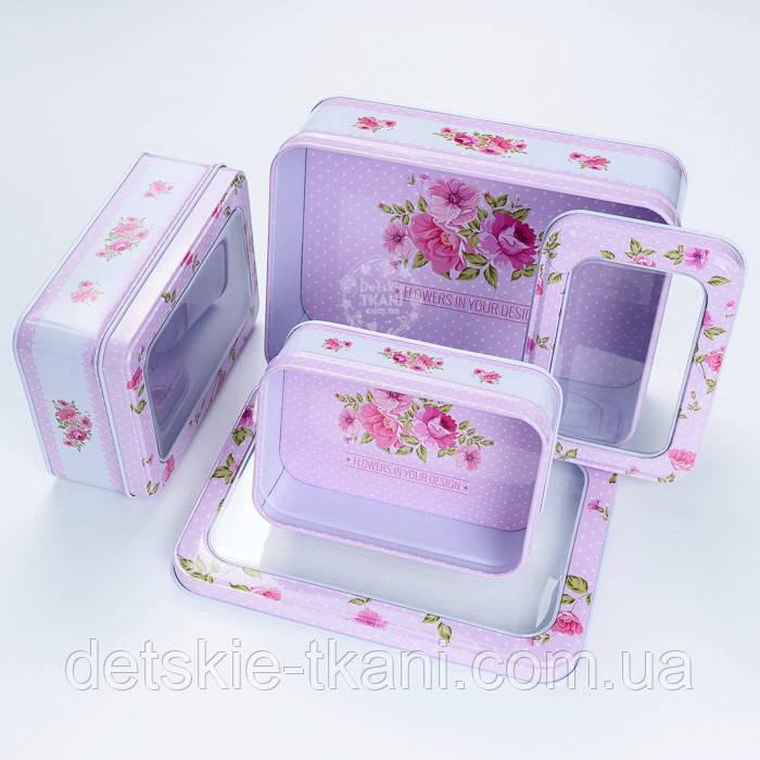 Набор прямоугольных коробок с прозрачной крышкой из 3-х шт розового цвета с горошком и цветами