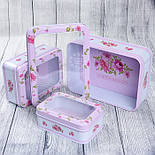 Набор прямоугольных коробок с прозрачной крышкой из 3-х шт розового цвета с горошком и цветами, фото 2