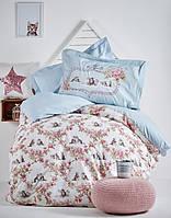 Постельное белье Karaca Home - Paise blue ранфорс подростковое полуторное, фото 1