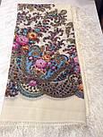 Весенний ручеек 1428-3, павлопосадский платок шерстяной с шелковой бахромой, фото 4