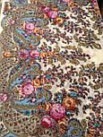 Весенний ручеек 1428-3, павлопосадский платок шерстяной с шелковой бахромой, фото 5