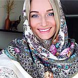 Весенний ручеек 1428-3, павлопосадский платок шерстяной с шелковой бахромой, фото 6