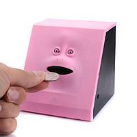 Копилка жующая монеты Face Bank с лицом - розовая, копилка-лицо, с доставкой по Киеву и Украине
